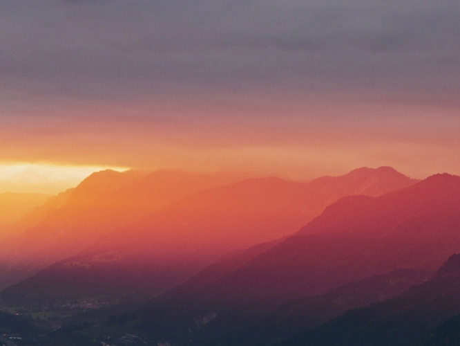 Panorama of mountains during sunset
